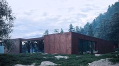 Sergey Makhno Architects has revealed these painterly renderings of a weathering steel holiday home nestled in Ukraine's Carpathian Mountains