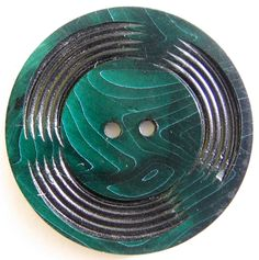 Vintage Carved Green Celluloid Button (Antique Plastic Wafer Buttons)