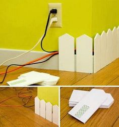 Cute idea to solve an ugly problem and prevent pets and babies from playing with power cords.