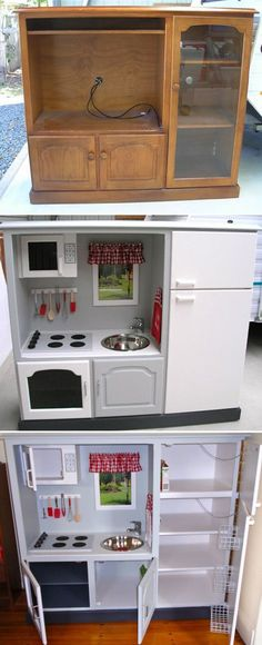 54 Ideas For Kids Furniture Playroom Play Kitchens Play Kitchens, Diy Play Kitchen, Tv Stand To Play Kitchen, Toddler Kitchen Set, Childs Kitchen, Kitchen Sets For Kids, Kitchen Ideas, Kitchen Decor, Repurposed Furniture