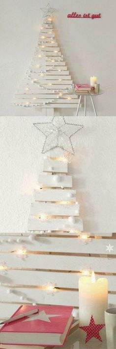 Up-cycle pieces of old wood into an alternative 'evergreen' Christmas tree. #upcycle #christmasdecorations #diy
