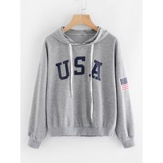 American Flag Print Hoodie (245 ARS) ❤ liked on Polyvore featuring tops, hoodies, grey, gray hoodie, hooded sweatshirt, pullover hoodies, american flag hoodie and grey hoodies