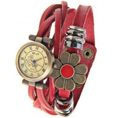 $4.98 ELY Quartz Watch with 12 Roman Numbers Indicate Leather Watch Band for Women - Red