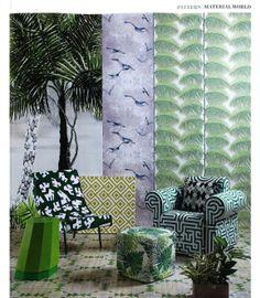 Patrones geométricos y selváticos recreando una atmósfera moderna y tropical #EngeenerNature , @Designers Guild  en Elle Decor UK