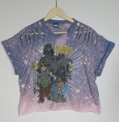 55860cb877a11 Hand bleached and distressed Star Wars crop top. Edgy. Grunge. Urban style.