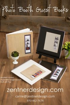 Photo booth wedding guest book. Four styles of guest books. Modern, clean lines and an awesome look! zentnerdesign.com