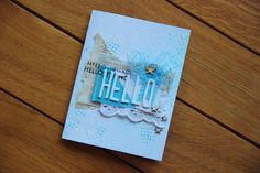 (Emmanuelle Chauvin) Beautiful mixed-media card, love the blue.