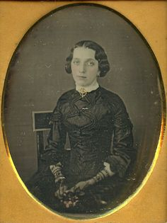 Hand tinted daguerreotype of a lovely young American woman (possibly in mourning). #Victorian #vintage #portraits