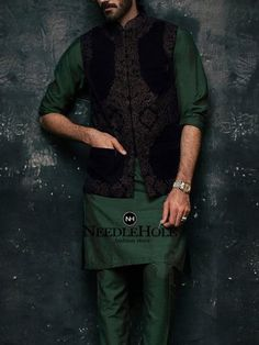 Ismail Farid embroidered waistcoat for groom in velvet fabric. Buy Ismail Farid men waistcoats and groom waistcoats at best prices and worldwide delivery