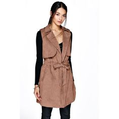 Boohoo Maria Sleeveless Belted Trench ($44) ❤ liked on Polyvore featuring outerwear, coats, camel, floral print bomber jacket, bomber jacket, flight jacket, camel trench coat and biker jacket