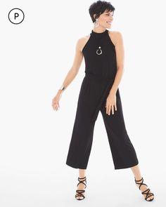 Chico's Women's Petite Solid Midi Gaucho Jumpsuit, Black, Size: 0P (4P/6P S)