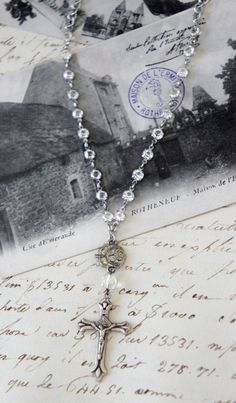 Shining Light-Vintage assemblage necklace by frenchfeatherdesigns