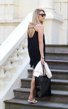 Sheinside Dress, Pieces Bag, Vagabond Sandals