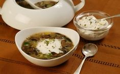 Mushroom and Leek Soup with Thyme Cream / Stephen Sullivan; food and prop styling: Roscoe Betsill