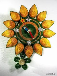 Quilled sunflower clock-Russian | Quilling - Clocks/Watches | Pintere ...