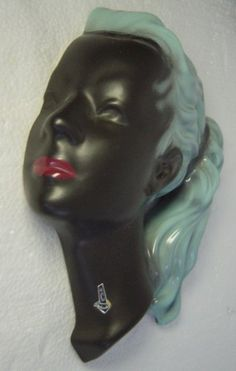 50s West-German Cortendorf 3408 pottery wall mask Lady