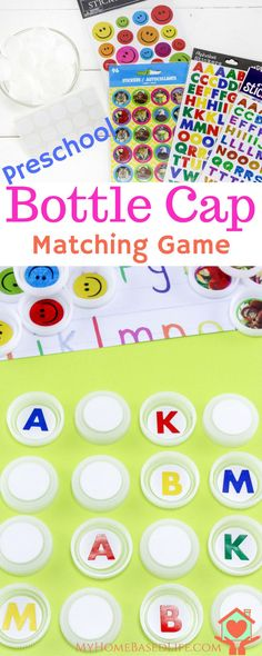 ac86f31a89 Teach your Preschooler their letters with this fun Bottle Cap Letters  Matching Game via @myhomebasedlife