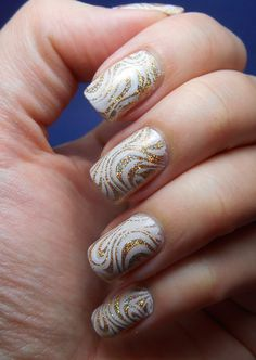 #ablecs15 #nails gold & white stamps