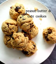 peanut butter and date cookies makes about 12-16 cookies  2/3 cup peanut butter (use organic/natural, no additives) 2 tbsp coconut oil 1/4 cup brown sugar  1 tbsp honey  2 whole eggs 1 tsp vanilla extract 1 1/3 cup organic plain flour 1.5 tsp baking powder 10-15 dates, pits removed and chopped roughly