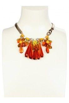 rada crystal necklace | Rada' Crystals and Pearls Necklace in Orange | Lyst