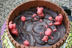 pigs, schweine - bottich, chocolate, Schokolade, cake, Kuchen