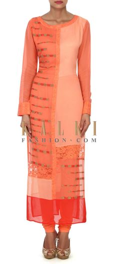 Buy this Peach kurti in sequin and chantilly lace only on Kalki