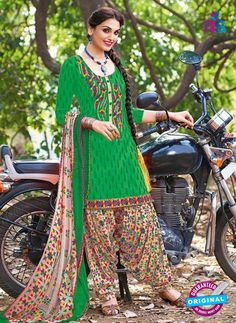 Kalakirti 504 B Green and Multicolor Embroidered Cotton Patiyala Suit