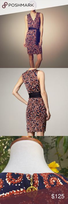 """Tory Burch Nicola Navy Sapello Print Silk Dress Elegant silk, sleeveless dress for Spring/Summer. V-neck, back zipper, top hook and eye closure, self-tie, dry clean. Navy and rust swirl, paisley pattern, bust is about 18"""", length is 38"""". Tory Burch Dresses"""
