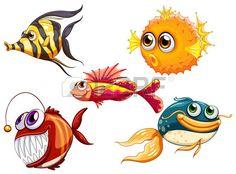 Ilustraci n de un grupo de criaturas del mar sobre un fondo blanco Foto de archivo