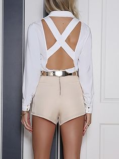 Fashion Solid Buttoned Pocket Crisscross Open Back Blouse Open Back Maxi Dress, Bodycon Dress With Sleeves, Long Sleeve Mini Dress, Trend Fashion, Fashion Design, Women's Fashion, Pinterest Fashion, Blouse Online, Womens Fashion Online