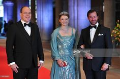 Luxembourg's Grand Duke Guillaume (R), his wife Grand Duchess Stephanie (R) and Prince Albert II of Monaco pose on April 29, 2013 as they arrive to attend a dinner at the National Museum (Rijksmuseum) in Amsterdam hosted by Queen Beatrix of the Netherlands on the eve of her abdication. AFP PHOTO / CARL COURT (Photo credit should read CARL COURT/AFP/Getty Images)