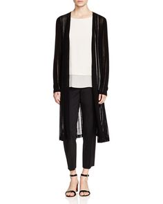 Eileen Fisher Sheer Stripe Long Cardigan