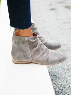 Speir Ankle Boot | This slouchy ankle boot is in a luxe and soft suede featuring ruched detailing and a square toe. Staked heel and inside side zip for an easy on-off.