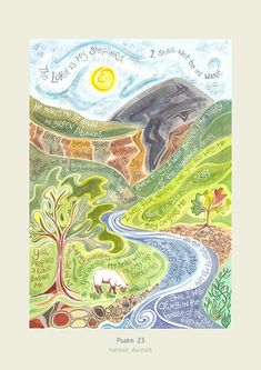 "Hannah Dunnett Psalm 23 ""The Lord is my Shepherd I shall not be in want"". Available as a greetings card or art print."