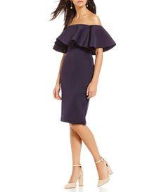 e42e7d723ea Gianni Bini Chrissy Off-the-Shoulder Scuba Dress
