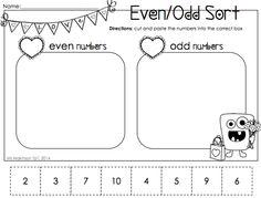 February Printable Packet - Kindergarten Literacy and Math. Odd/Even Sort.