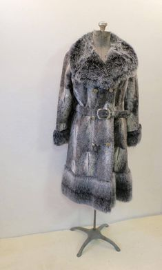f8c4bb0e8b1 Vintage Gray Faux Fur Coat Lykafur Label Size Small Lined Long Silver Gray  Belted Fake Fur