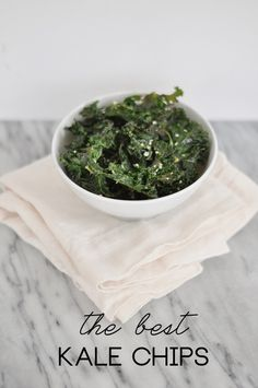 Cooking: The Best Kale Chips - Style Within Reach Asian Kale Chips Washed + chopped kale Olive Oil Sesame Oil Soy Sauce Sea Salt Sesame Seeds