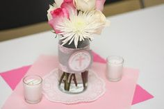 Flower Baptism Decorations With A Clear Vase And Tag Girl Centerpieces Communion