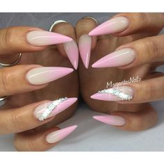 Pink ombré stiletto nails Summer nail design