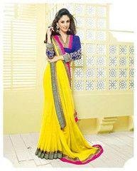 Wear #yellow color #wrinkle chiffon material #designer #saree #sari on your wedding to look #astonishing