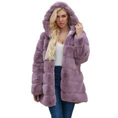 Womens Ladies Warm Faux Fur Coat Jacket Solid Hooded Outerwear Hoodies Outerwear Coat Overcoat Girls Navy Coat, Parka Coat, Fur Coat, Trendy Plus Size Coats, Long Quilted Coat, Purple Vests, Faux Fur Jacket, Hooded Jacket, Womens Parka