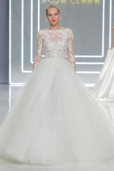 Rosa Clara long sleeved wedding dress with illusion lace bodice and full tulle skirt // Barcelona Bridal Fashion Week 2016: Timeless and Elegant Rosa Clará {Facebook and Instagram: The Wedding Scoop}