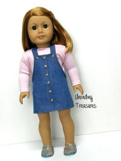 18 inch doll clothes AG doll clothes Girl doll clothes pink long sleeve top and jean jumper