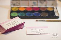 tarjetas personales, letterpress, acuarela