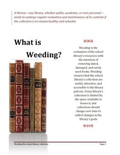 ISSUU - Weeding The School Library Collection by taghreed alhaddab