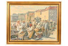 Oil Painting, Sunday Market on OneKingsLane.com