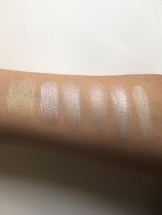 Swatches of organic highlighters From left: ILIA Sway; KJAER WEIS Radiance; W3LL PEOPLE Bio -Brightener, TATA HARPER Very Illuminating; RMS Beauty Living Luminizer; ILIA Polka Dots and Moonbeams. All available at www.beingcontent.com
