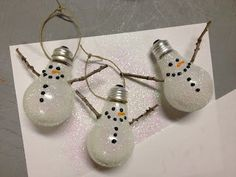 light bulb snowman ornament 4 lightbulbs- $1.00 (I got the white kind so the snowman would look more vibrant)                You could also use an old lightbulb that no longer works if you want!  *Craft Bond Spray Glue  *Tweed (you can use whatever you want to hang the lightbulb on the tree)  *White Glitter  *Stick from the yard, and a piece of paper to catch the glitter spills  *Puffy Paint