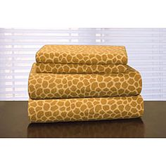 @Overstock - Chic, stylish and unique, these heavyweight flannel sheets showcase a giraffe print pattern. These flannel sheets have a 165 ounce weight to provide the ultimate in comfort.  http://www.overstock.com/Bedding-Bath/Pointehaven-Giraffe-Print-Flannel-Sheet-Set/5396103/product.html?CID=214117 $34.70